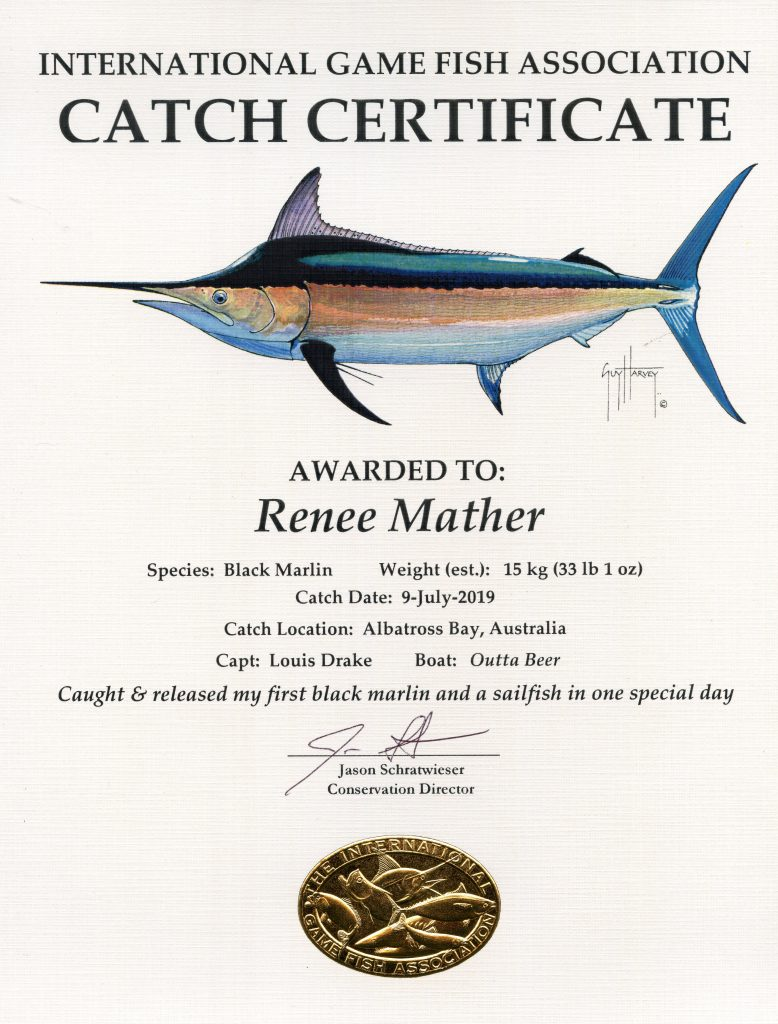 Mather Marlin Catch certificate